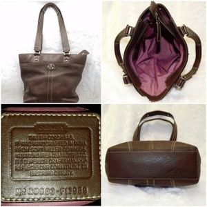 COACH Pebbled Hamilton Shopper Brown Leather Tote